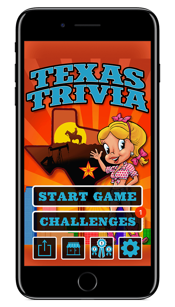Main menu of Texas Trivia with Honey Dee